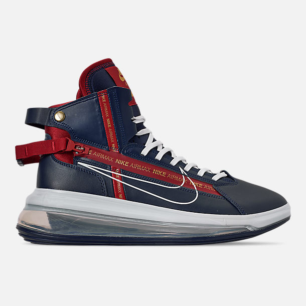 Right view of Men's Nike Air Max 720 Satrn Basketball Shoes in Midnight Navy/White/Gym Red