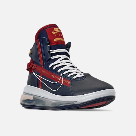 Three Quarter view of Men's Nike Air Max 720 Satrn Basketball Shoes in Midnight Navy/White/Gym Red