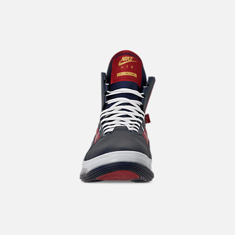 Front view of Men's Nike Air Max 720 Satrn Basketball Shoes in Midnight Navy/White/Gym Red