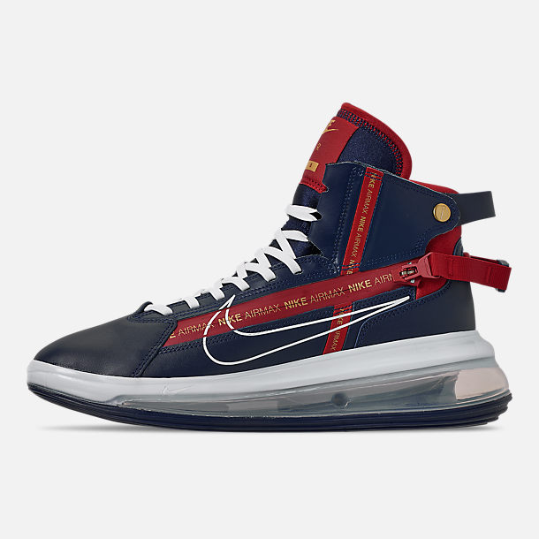Left view of Men's Nike Air Max 720 Satrn Basketball Shoes in Midnight Navy/White/Gym Red