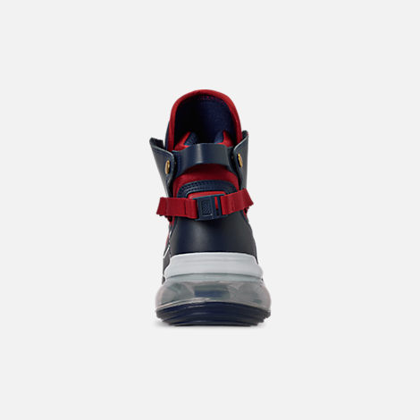 Back view of Men's Nike Air Max 720 Satrn Basketball Shoes in Midnight Navy/White/Gym Red