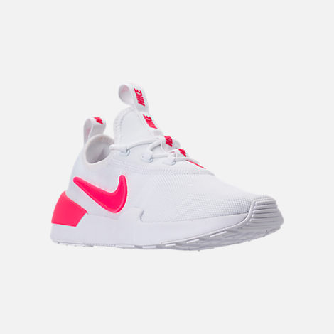 Three Quarter view of Girls' Grade School Nike Ashin Modern SE Casual Shoes in White/Racer Pink/Rush Pink