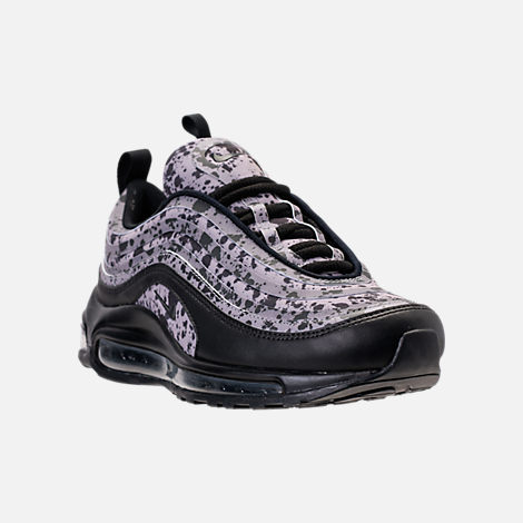 Three Quarter view of Women's Nike Air Max 97 Ultra 2017 Premium Casual Shoes in Black/Black/Vast Grey