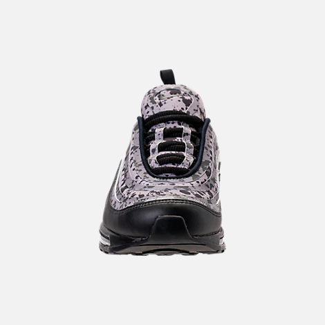 Front view of Women's Nike Air Max 97 Ultra 2017 Premium Casual Shoes in Black/Black/Vast Grey