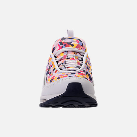 Front view of Women's Nike Air Max 97 Ultra 2017 Premium Casual Shoes in Vast Grey/Obsidian/Elemental Rose