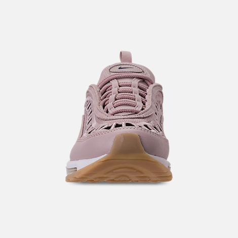 Front view of Women's Nike Air Max 97 Ultra '17 SI Casual Shoes in Particle Rose/Summit White/Gum Yellow