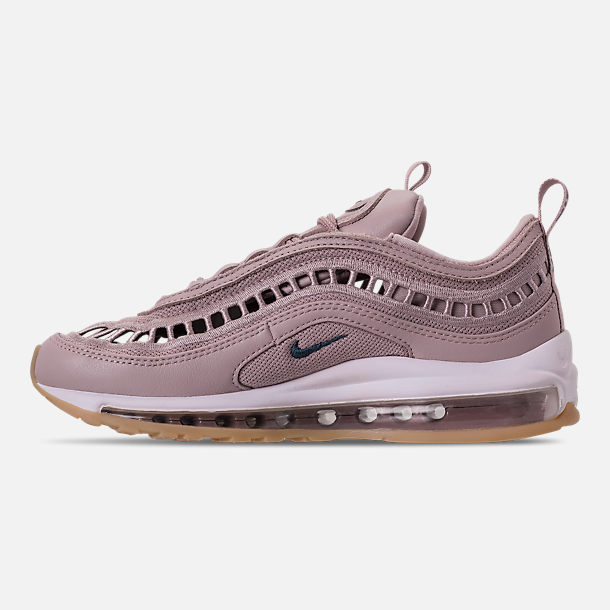 Left view of Women's Nike Air Max 97 Ultra '17 SI Casual Shoes in Particle Rose/Summit White/Gum Yellow