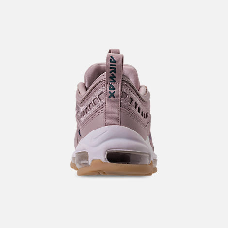 Back view of Women's Nike Air Max 97 Ultra '17 SI Casual Shoes in Particle Rose/Summit White/Gum Yellow