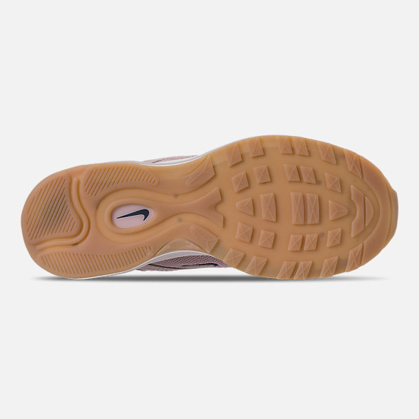 Bottom view of Women's Nike Air Max 97 Ultra '17 SI Casual Shoes in Particle Rose/Summit White/Gum Yellow