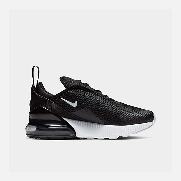 Left view of Little Kids' Nike Air Max 270 Casual Shoes in Black/White/Anthracite