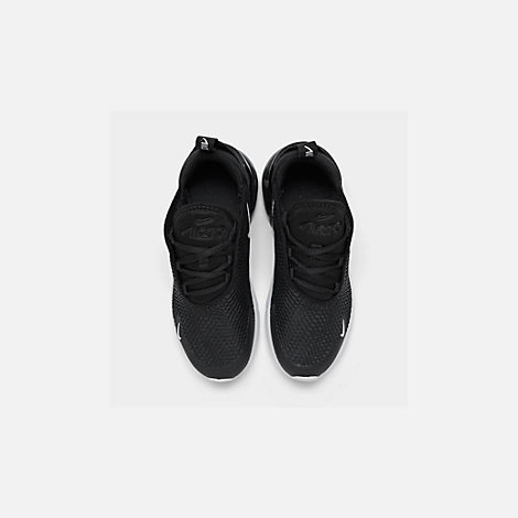 Back view of Little Kids' Nike Air Max 270 Casual Shoes in Black/White/Anthracite