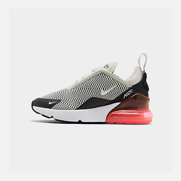 Right view of Little Kids' Nike Air Max 270 Casual Shoes in Light Bone/Black/White/Hot Punch