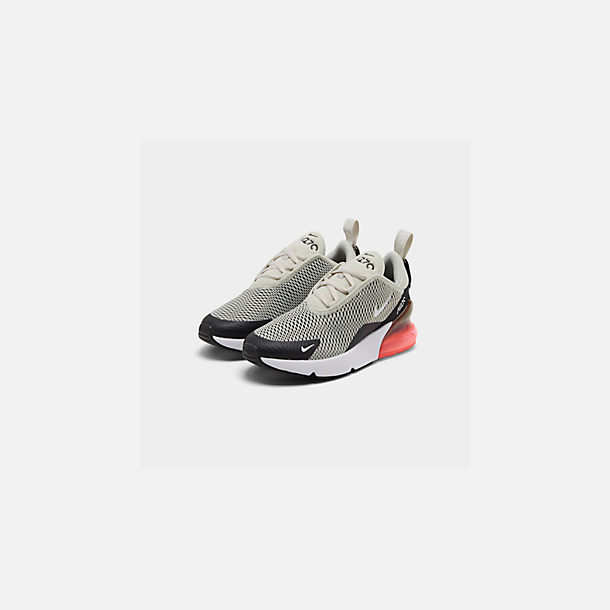 Three Quarter view of Little Kids' Nike Air Max 270 Casual Shoes in Light Bone/Black/White/Hot Punch