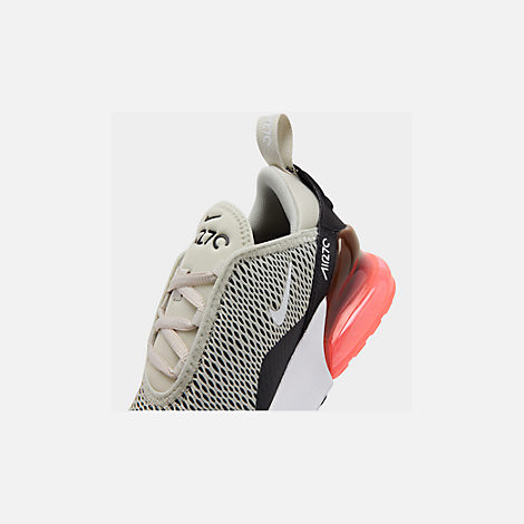 Front view of Little Kids' Nike Air Max 270 Casual Shoes in Light Bone/Black/White/Hot Punch