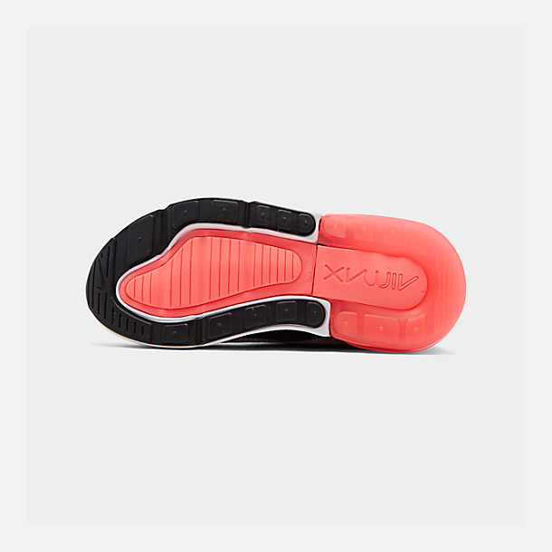 Bottom view of Little Kids' Nike Air Max 270 Casual Shoes in Light Bone/Black/White/Hot Punch