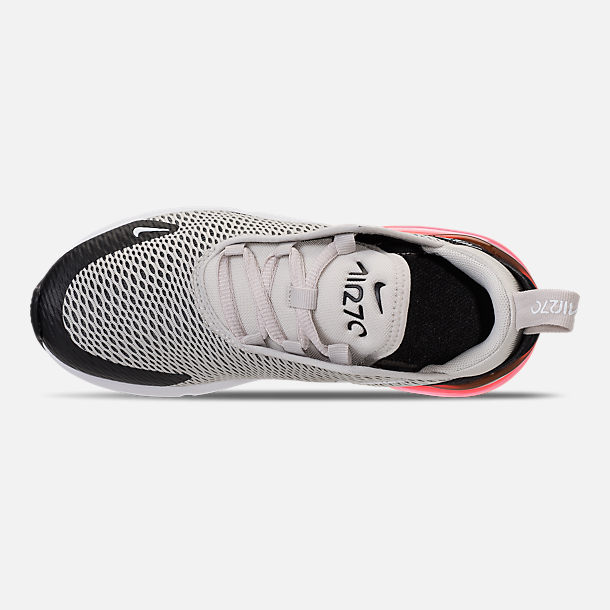 Top view of Little Kids' Nike Air Max 270 Casual Shoes in Light Bone/Black/White/Hot Punch