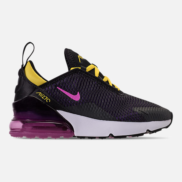 Right view of Kids' Preschool Nike Air Max 270 Casual Shoes in Black/Hyper Pigment/Hyper Grape/Yellow
