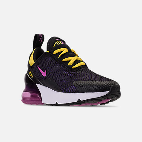 Three Quarter view of Boys' Preschool Nike Air Max 270 Casual Shoes in Black/Hyper Pigment/Hyper Grape/Yellow