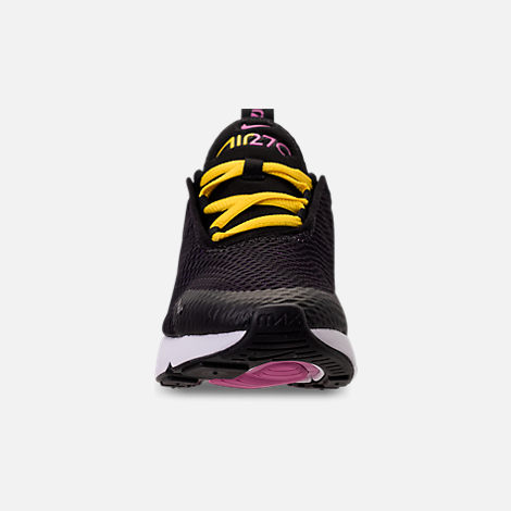 Front view of Boys' Preschool Nike Air Max 270 Casual Shoes in Black/Hyper Pigment/Hyper Grape/Yellow