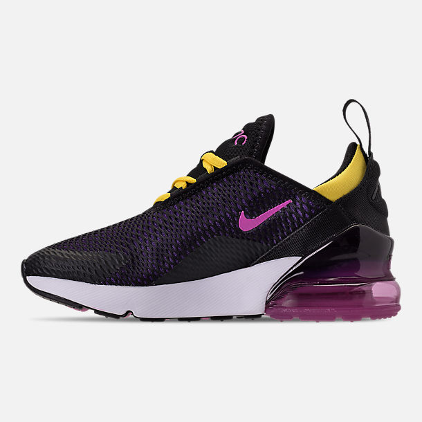 Left view of Boys' Preschool Nike Air Max 270 Casual Shoes in Black/Hyper Pigment/Hyper Grape/Yellow