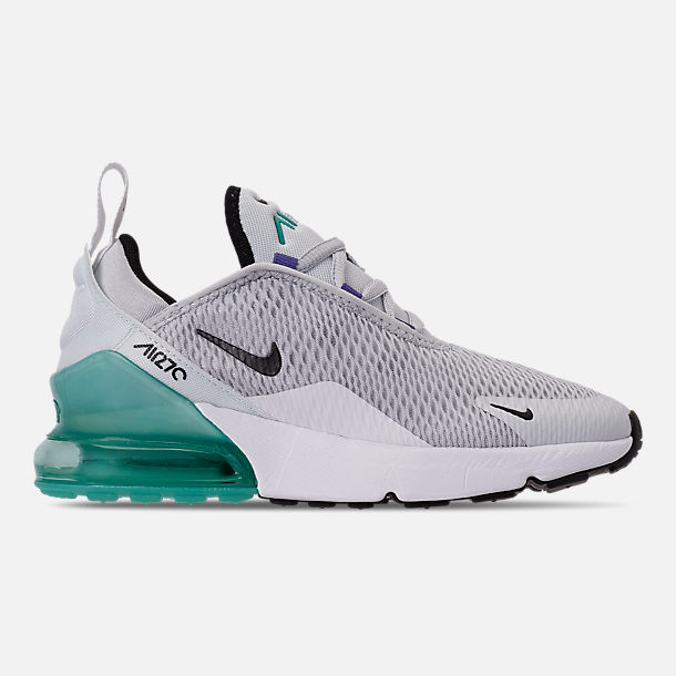 Right view of Little Kids' Nike Air Max 270 Casual Shoes in Pure Platinum/Black/White/Hyper Jade