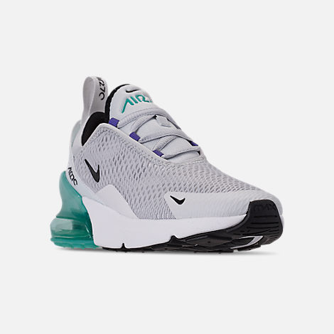Three Quarter view of Little Kids' Nike Air Max 270 Casual Shoes in Pure Platinum/Black/White/Hyper Jade