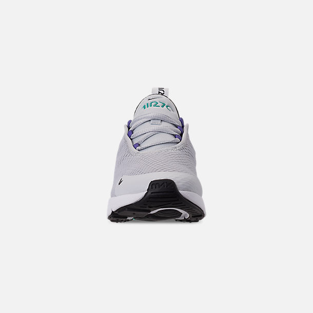Front view of Little Kids' Nike Air Max 270 Casual Shoes in Pure Platinum/Black/White/Hyper Jade