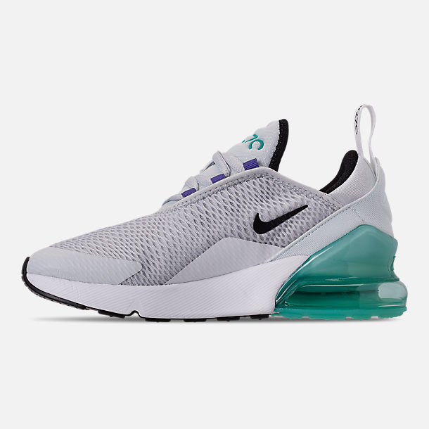 Left view of Little Kids' Nike Air Max 270 Casual Shoes in Pure Platinum/Black/White/Hyper Jade