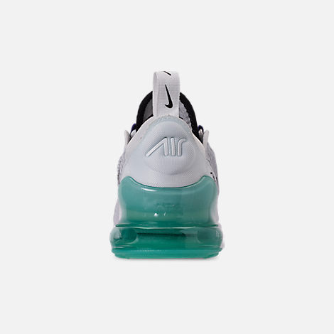 Back view of Little Kids' Nike Air Max 270 Casual Shoes in Pure Platinum/Black/White/Hyper Jade