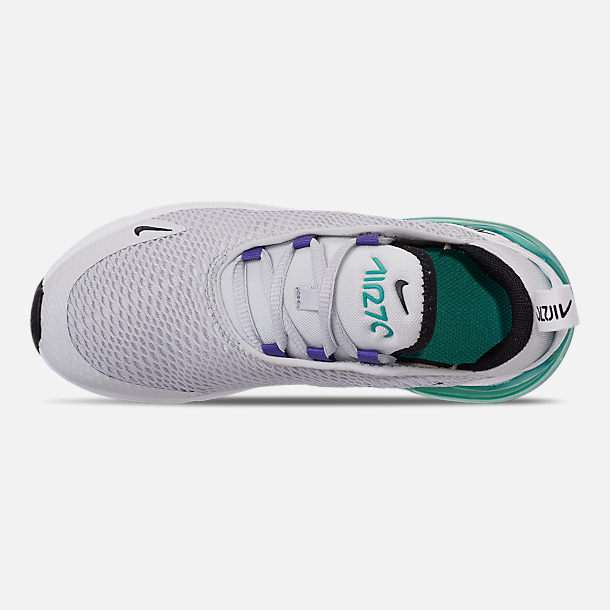 Top view of Little Kids' Nike Air Max 270 Casual Shoes in Pure Platinum/Black/White/Hyper Jade