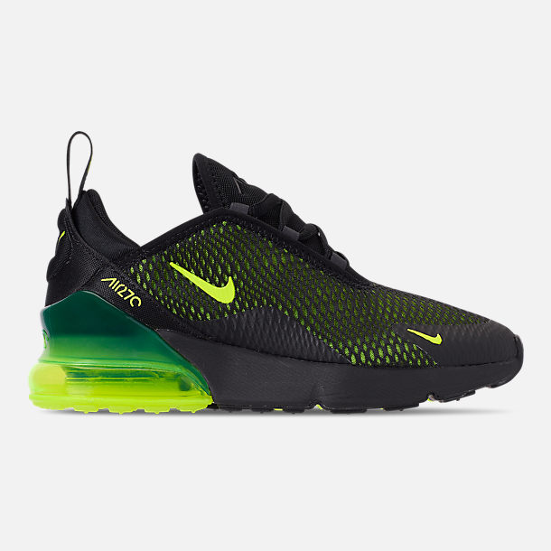 Right view of Little Kids' Nike Air Max 270 Casual Shoes in Black/Volt/Black/Oil Grey