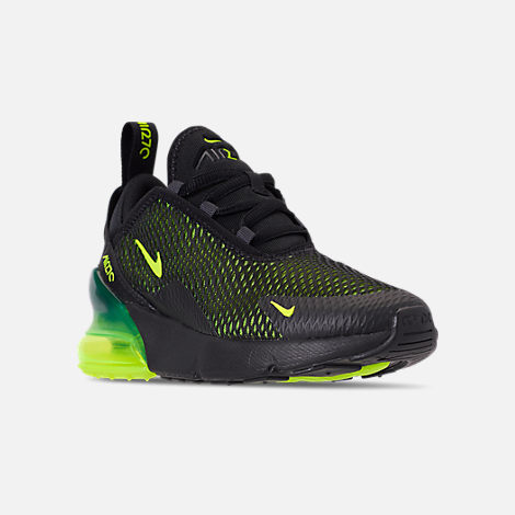 Three Quarter view of Little Kids' Nike Air Max 270 Casual Shoes in Black/Volt/Black/Oil Grey