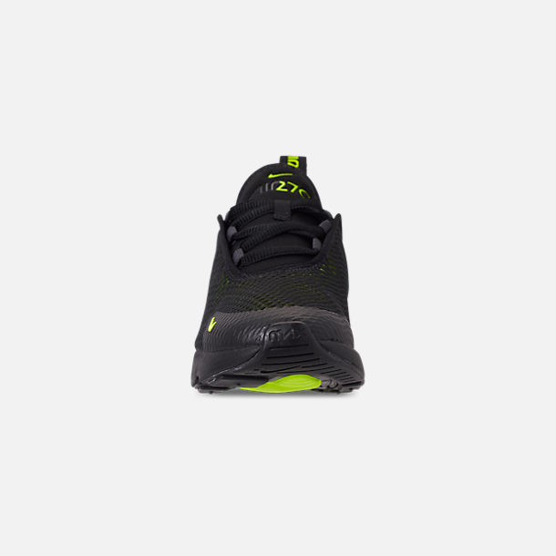 Front view of Little Kids' Nike Air Max 270 Casual Shoes in Black/Volt/Black/Oil Grey