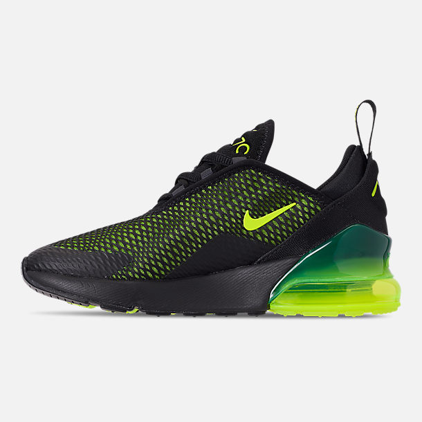 Left view of Little Kids' Nike Air Max 270 Casual Shoes in Black/Volt/Black/Oil Grey