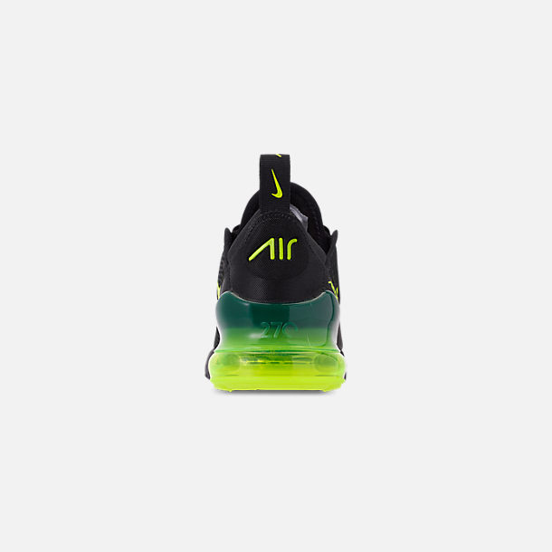 Back view of Little Kids' Nike Air Max 270 Casual Shoes in Black/Volt/Black/Oil Grey