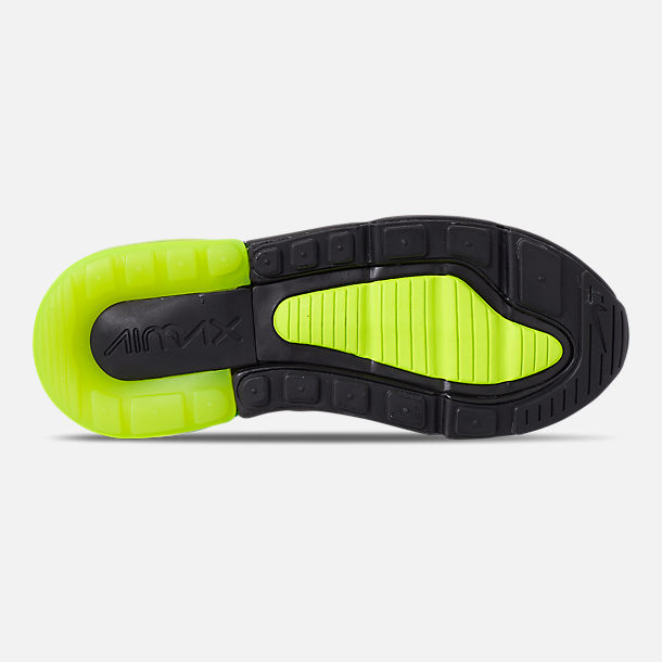 Bottom view of Little Kids' Nike Air Max 270 Casual Shoes in Black/Volt/Black/Oil Grey