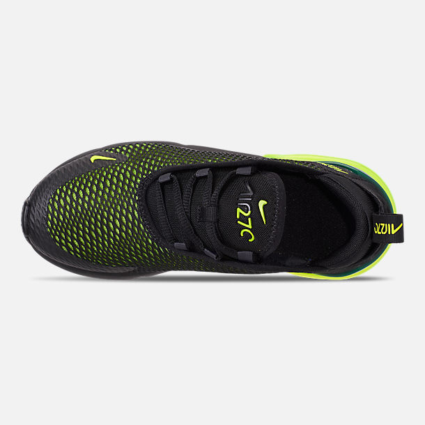 Top view of Little Kids' Nike Air Max 270 Casual Shoes in Black/Volt/Black/Oil Grey