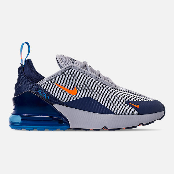 Right view of Little Kids' Nike Air Max 270 Casual Shoes in Wolf Grey/Total Orange/Midnight Navy