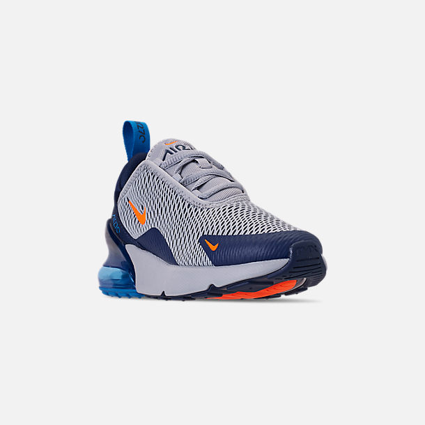 Three Quarter view of Little Kids' Nike Air Max 270 Casual Shoes in Wolf Grey/Total Orange/Midnight Navy