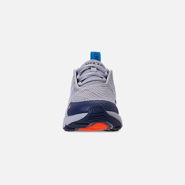 Front view of Little Kids' Nike Air Max 270 Casual Shoes in Wolf Grey/Total Orange/Midnight Navy
