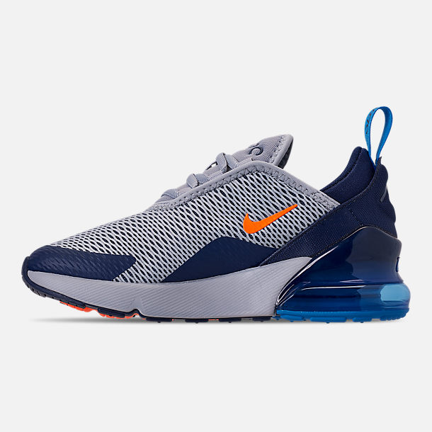 Left view of Little Kids' Nike Air Max 270 Casual Shoes in Wolf Grey/Total Orange/Midnight Navy