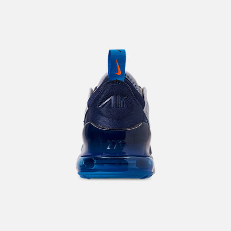 Back view of Little Kids' Nike Air Max 270 Casual Shoes in Wolf Grey/Total Orange/Midnight Navy