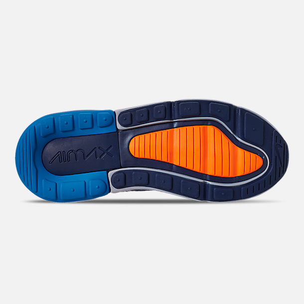 Bottom view of Little Kids' Nike Air Max 270 Casual Shoes in Wolf Grey/Total Orange/Midnight Navy