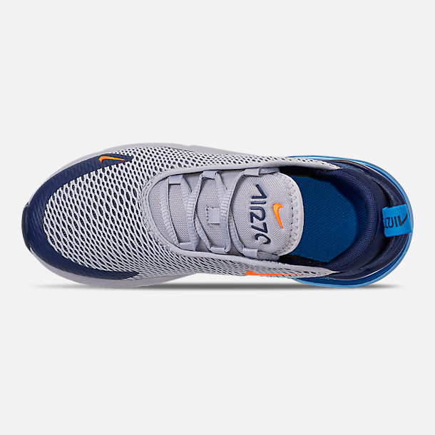 Top view of Little Kids' Nike Air Max 270 Casual Shoes in Wolf Grey/Total Orange/Midnight Navy