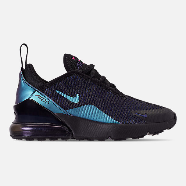 Right view of Little Kids' Nike Air Max 270 Casual Shoes in Black/Anthracite/Regency Purple