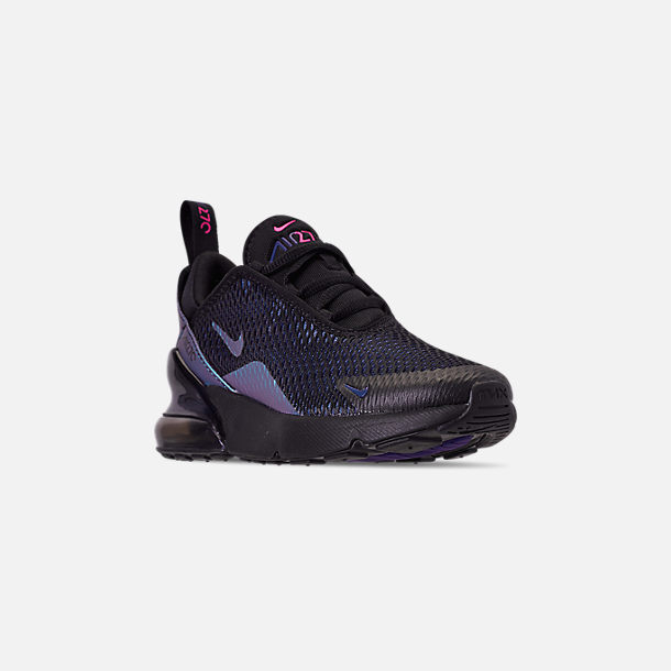 Three Quarter view of Little Kids' Nike Air Max 270 Casual Shoes in Black/Anthracite/Regency Purple