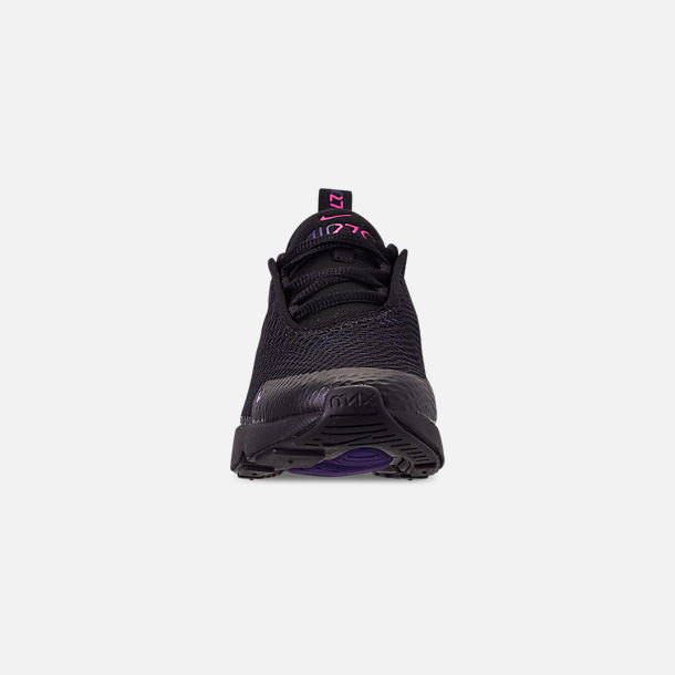 Front view of Little Kids' Nike Air Max 270 Casual Shoes in Black/Anthracite/Regency Purple
