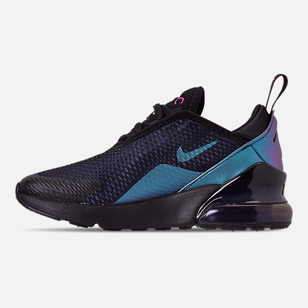 Left view of Little Kids' Nike Air Max 270 Casual Shoes in Black/Anthracite/Regency Purple