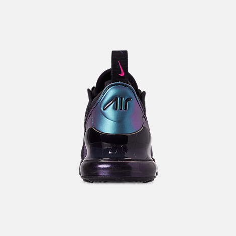 Back view of Little Kids' Nike Air Max 270 Casual Shoes in Black/Anthracite/Regency Purple
