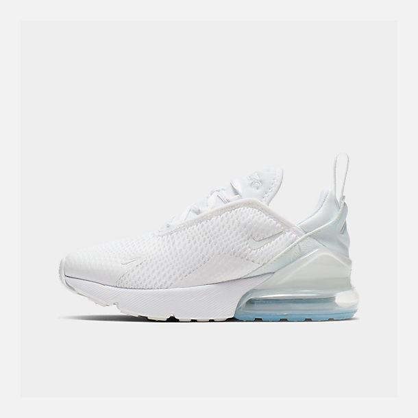 Right view of Little Kids' Nike Air Max 270 Casual Shoes in White/White/Metallic Silver